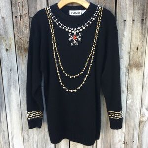 Primo Vintage Holiday Sweater Silk Angora Black L